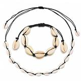 N/A Necklace European and American Black Flat Knot Shell Necklace Shell Hand Knotted Necklace Necklace for Women Friendship Necklace Couples Necklace Friendship Necklace