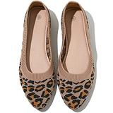 AOMAIS Women's Flats Shoes Pointed Toe Ballet Flats Slip on Shoes Comfort Flat Loafers Dress Shoes(Brown Leopard.US11)