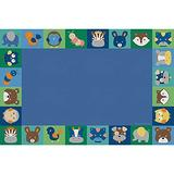 Children's Factory Baby Animals Border, 96x144, CPR3146, Contemporary, Kids Rug for Daycare, Classroom Furniture, Baby and Toddler Playroom Décor