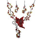 N/A Necklace 2021 Popular European and American Butterfly Love Flower Necklace Accessories Bridal Necklace Set Necklace Necklace for Women Friendship Necklace Couples Necklace Friendship Necklace