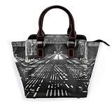 Leather Rivet Shoulder Bag Patterns Of Light Printed Handbag Purse, For Women'S On Business Trip, Work, Travel, Shopping