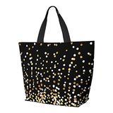 Floating Dots White And Gold On Black Shoulder Bag Multifunctional Large Capacity Handbag Tablet Bags Lightweight Work Tote Bag Weekender Travel Bag Beach Sack for Women