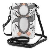 LuckyTagy Gray Penguin Crossbody Cell Phone Purse for Women Men,Floral Cute Antarctica Animal Gesturing Gray Grey PU Leather Crossbody Phone Pouch Phone Bag