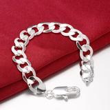 silver Bracelets Flat sideways chain for men classic Wedding party Wild Christmas Gift fashion Jewelry 21 cm
