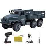 NZDY High Simulation Remote Control Army Truck Model 6Wd Strong Horsepower Off Road Rc Car Professional 2.4Ghz Rechargeable Electric Vehicle Toy for Kids & Adults,2 Battery,2 Battery