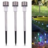 RSTYS Solar Lamps Outdoor, 5 pcs Solar Pathway Colorful Lights LED Landscape Lighting High Brightness Solar Power LED Lawn Lamps Warm White LED Solar Path Lights for Walkway Driveway