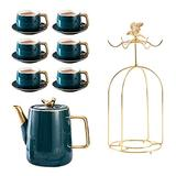 Latte Art Cup Porcelain Cappuccino Cups with Saucers Teacups - 7 Ounce English Cup with Spoon Teapot and Rack for Specialty Coffee Drinks,Cafe Mocha and Tea - Set of 4, Malachite Green tea