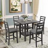 COODENKEY 5-Piece Wooden Counter Height Dining Table Set with 2-Tier Storage Shelving and 4 Padded Chairs, Grey