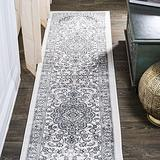 JONATHAN Y MDP503C-28 Palmette Modern Persian Floral Gray/Cream 2 ft. x 8 ft. Runner Rug Vintage, Bohemian, Transitional Country, Easy Cleaning, for Bed, Kitchen, Living Rooms, Non Shedding