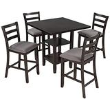 kupet Wooden Counter Height Dining Table Set with 2-Tier Storage Shelving and 4 Padded Chairs, 5-Piece, Espresso