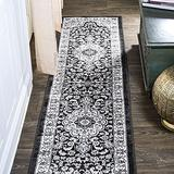 JONATHAN Y MDP503B-28 Palmette Modern Persian Floral Cream/Gray/Black 2 ft. x 8 ft. Runner Rug Vintage, Bohemian, Transitional Country, Easy Cleaning, for Bed, Kitchen, Living Rooms, Non Shedding