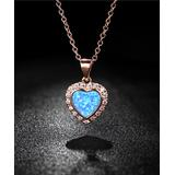 Gembassy Women's Necklaces Rose - Lab-Created Blue Opal & 18k Rose Gold-Plated Heart Necklace With Swarovski Crystals