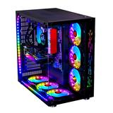 WJCOOLMAN Robin II Mid Tower ATX Computer Case, USB 3.0 Gaming Case, Micro-ATX PC Case, Desktop Case Tempered Glass on The Front and Left Side Water Cooling, 10 Fan Positions, Black