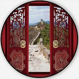 Collage of Chinese Decorative Gates and The Great Wall,Carpet/Rug Round Rug Non-Slip Backing Round Area Rug Bedroom Study Children Playroom Carpet Floor Mat 3.3'Round