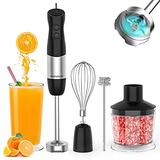 Immersion Blender, Stick Blender with 1000W 5-in-1 Stainless Steel Blades, 12-Speed Immersion Hand Blender for kitchen for Smoothies/Baby Food with 500ml Chopper, Milk Frother, Egg Whisk, 600ml Beaker