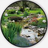 Garden with Pond in Asian Style,Carpet/Rug Round Rug Non-Slip Backing Round Area Rug Bedroom Study Children Playroom Carpet Floor Mat 6'Round