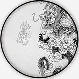 Chinese Dragon with White,Carpet/Rug Round Rug Non-Slip Backing Round Area Rug Bedroom Study Children Playroom Carpet Floor Mat 3'Round