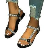Women's Flat Sandals with Peep Toe Flat Sandals for Women Fashion Women's Sandals with Buckle Ankle Large Size Decor Rhinestone Fashion Durable Suit for Summer Beach Home