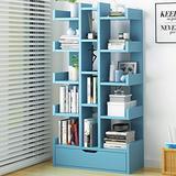 DLJFU - Bookshelves Bookcase - Wood Bookshelf Display Cabinet Tree Storage Shelf with Open Cubes Shelves for Living Room Or Office in A Modern Design (Color : D)