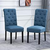 Set of 2 Dining Chairs Modern Dining Room Chairs Linen Fabric Cover Upholstered Cushion Seat Black Wood Legs for Dining Room Living Room Kitchen, Blue
