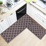 "TIMO Kitchen Rugs, 2 Piece Cushioned Anti Fatigue Kitchen Mat, Non Slip Waterproof Kitchen Mat for Floor, Durable Kitchen Mats and Rugs for Kitchen Laundry Sink, 17""x29""+17""x59"", Brown"