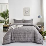 Wellboo Boho Gray Comforter Sets Queen Grey and White Geometric Bedding Sets Cotton Various Striped Beddings Full Women Men Adult Thin Lines Modern Folkloric Comforters Triangle Bedding Soft Health