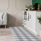 Buffalo Plaid Check Runner Rug: 2x8 Farmhouse Grey and White Checkered Long Hallway Floor Runners | Woven Cotton Washable Outdoor Rugs | Gray Carpet Runners Best for Kitchen, Entryway, Laundry Mat Rug