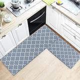 "TIMO Kitchen Rugs, 2 Piece Cushioned Anti Fatigue Kitchen Mat, Non Slip Waterproof Kitchen Mat for Floor, Durable Kitchen Mats and Rugs for Kitchen Laundry Sink, 17""x29""+17""x47"", Grey"