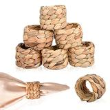 Worldity Woven Napkin Rings Set of 8, Handmade Natural Water Hyacinth Rustic Napkin Rings, Farmhouse Napkins for Easter, Thanksgiving, Christmas Dining Table Decor(Yellow)