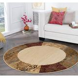 Tayse Sedona Beige 8 Foot Round Area Rug for Living, Bedroom, or Dining Room - Transitional, Floral