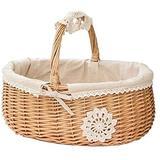 WDSZXH Storage Basket Wicker Basket Rattan Storage Basket Box Picnic Basket Fruit Flower Baskets with Lid Laundry Organizer Rattan Hanging Flower Pot