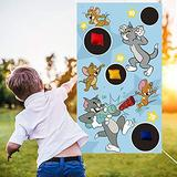 Tom and Jerry Toss Games-Throwing Game Banner with 4 Bean Bags Raya and Tom and Jerry Supplies for Kids and Adults Indoor Outdoor Party Decorations Kids Carnival Games