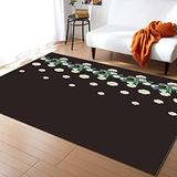 Large Area Rugs 4' x 6' Throw Carpet Floor Cover Nursery Rugs for Children, Zebra Animal and Tropical Leaves Modern Kitchen Mat Runner Rugs for Living Room/Bedroom Daisy Prints Dark Brown Texture