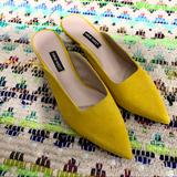 Nine West Shoes | Nine West Famille Yellow Pointy Toe Mules | Color: Yellow | Size: 8