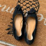 J. Crew Shoes | J Crew Black Pointy Toe Tassel Casual Suede Flats | Color: Black | Size: 6