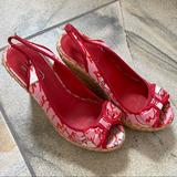 Coach Shoes | Coach Grace Peep Toe Bow Wedge Heels | Color: Pink/Red | Size: 6.5