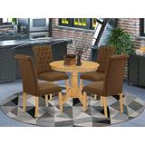 East West Furniture ANBR5-OAK-18 5Pc Dining Set Includes a Small Round Dinette Table and Four Parson Chairs with Dark Coffee Fabric, Oak Finish