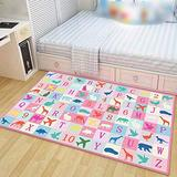Suytan Carpets Blue Kids Room Learning Rugs Bedrooms Playroom Pink Area Rug Large Nursery Educational Rugs with Numbers Soft Mats Boys Girls,B,4.59X6.56Ft (140X200Cm)
