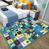 Suytan Carpets Blue Kids Room Learning Rugs Bedrooms Playroom Pink Area Rug Large Nursery Educational Rugs with Numbers Soft Mats Boys Girls,a,4.59X6.56Ft (140X200Cm)