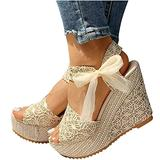 Womens Espadrille Wedge Sandals Open Toe Tie Lace Up Platform Wedges Sandals Strap Slingback Dress Shoes(Beige,5.5)