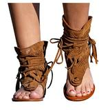 Womens Gladiator T-Strap Flat Sandals Retro Bohemian Sexy Beach Roman Boots Tassel Hollow Out Sandals Clip Toe Open-Toe Sandals(Brown,9)