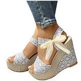 Womens Espadrille Wedge Sandals Open Toe Tie Lace Up Platform Wedges Sandals Strap Slingback Dress Shoes(White,6)