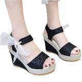 Womens Espadrille Wedge Sandals Open Toe Tie Lace Up Platform Wedges Sandals Strap Slingback Dress Shoes(Black,8)