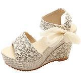 Agodor Women's Espadrille Platform Wedge Sandals Peep Toe Ankle Strap High Heel Slingback Shoes (US 8, gold)