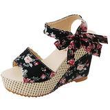 Agodor Women's Espadrille Platform Wedge Sandals Peep Toe Ankle Strap High Heel Slingback Shoes (US 8.5, black flower)