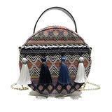 Beach bag hand-woven rattan ring bamboo woven shoulder bag ethnic style round bag chain shoulder bag retro handbag messenger bag (Blue)