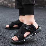 NUGKPRT flip flop,Sandal Canvas Men Shoe Summer Sandals Casual Beach Trend Outdoor Cool Drag Wear Sports Double-use Slippers 42 HG926Black