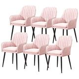 Home Kitchen Chairs Set of 2, 3, 4, 6 Dining Chair Velvet Upholstered Living Room Dining Room Chair with Backrest Metal Chair Legs Accent Side Chair Beautiful Design (Color : Pink, Size : 6pcs)