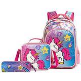 "HTgroce Girls Plush Unicorn School Rolling Backpack Set Lightweight Kids Backpack Lunch Bag for Preschool Kindergarten Elementary Girls 16.5"""
