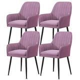 Home Kitchen Chairs Set of 2, 3, 4, 6 Dining Chair Velvet Upholstered Living Room Dining Room Chair with Backrest Metal Chair Legs Accent Side Chair Beautiful Design (Color : Purple, Size : 4pcs)